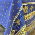 """Nappe provençale rectangulaire en coton """"Bastide"""" bleue et jaune """"Marat d'Avignon"""""""
