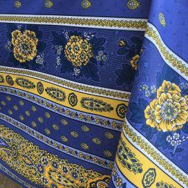 """Nappe provençale rectangulaire en coton enduit """"Bastide"""" bleue et jaune Marat d'Avignon"""
