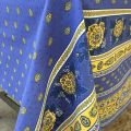 "Provence rectangular coated cotton tablecloth ""Bastide"" blue and yellow by ""Marat d'Avignon"""