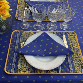 "Quilted cotton placemat ""Bastide"" blue and yellow"