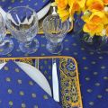 """Quilted cotton placemat """"Bastide"""" blue and yellow"""