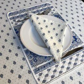 """Set de Table en coton matelassé """"Bastide"""" Blanc et bleu """"Marat d'Avignon"""""""