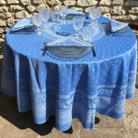 "Round Jacquard tablecoth, reversible ""Durance"" blue, by Marat d'Avignon"