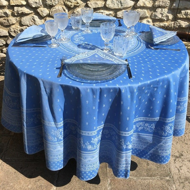 "Round jacquard tablecloth, reversible "" Ventoux""  blue, ecru"