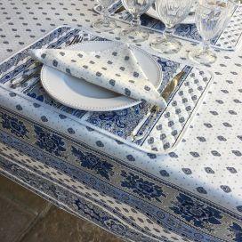 """Nappe provençale rectangulaire ou carrée en coton """"Bastide"""" Blanche et bleue """"Marat d'Avignon"""""""