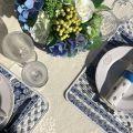 "Jacquard Tablecloth ""Delft"" off white, bordure ""Bastide"" white and blue"