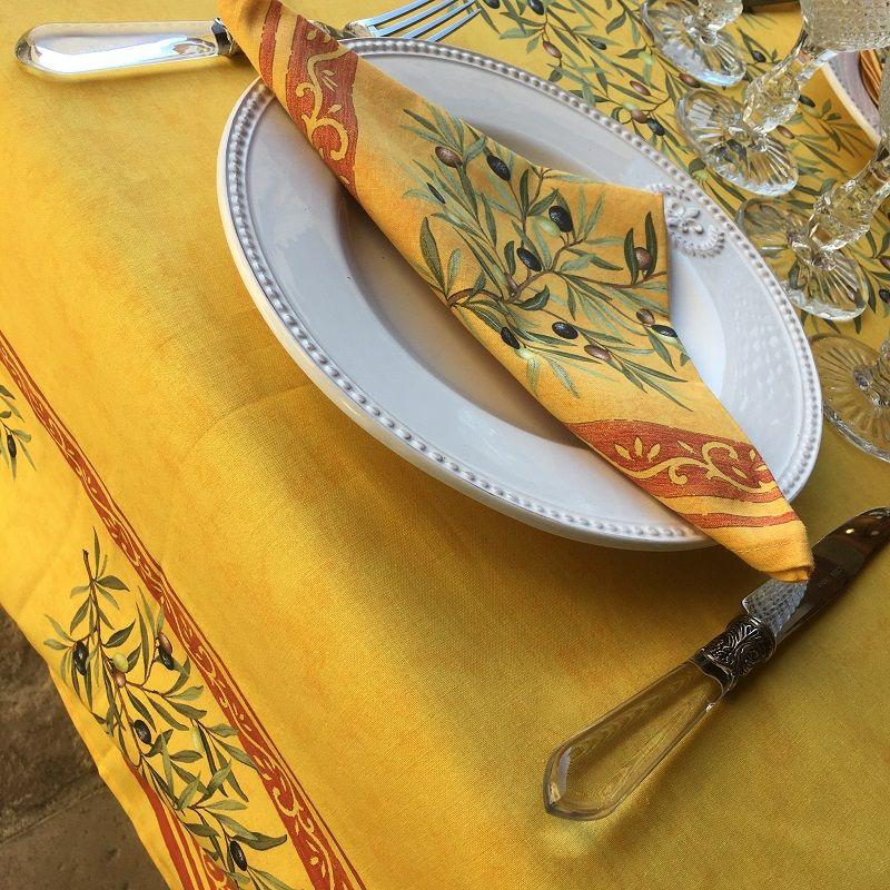 """Places-cotton-tablecloth """"Clos des Oliviers """" saffron color"""