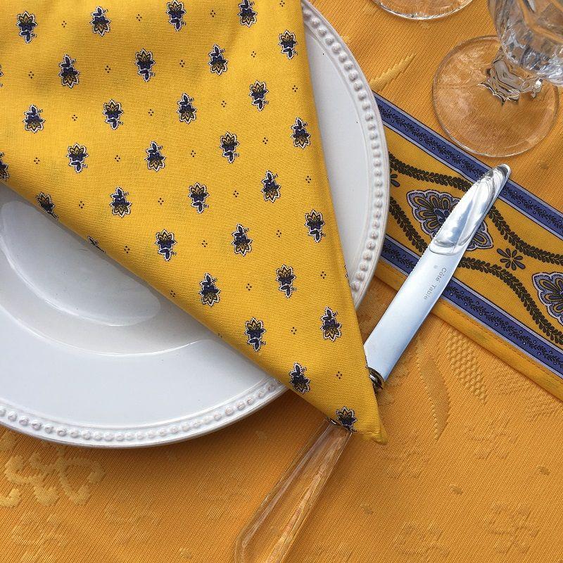 """Serviette en coton """"Avignon"""" jaune et bleu """"Marat d'Avignon"""