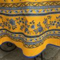 """Rounb tablecloth in cotton """"Avignon"""" yellow and blue by """"Marat d'Avignon"""""""