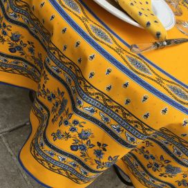 "Rounb tablecloth in cotton ""Avignon"" yellow and blue by ""Marat d'Avignon"""