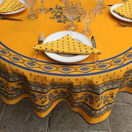 """Nappe provençale ronde en coton  enduit """"Avignon"""" jaune et bleu """"Marat d'Avignon"""""""