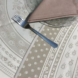 "Round Jacquard table cloth, reversible Teflon ""Durance"" linen color and off-white"
