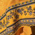 "Rectangular damask Jacquard tablecloth golden yellow, bordure ""Bastide"" yellow and blue"