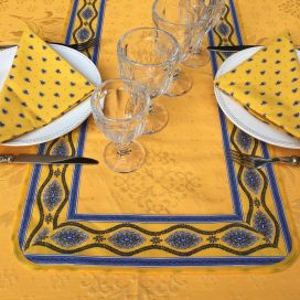 "Jacquard table runner ou square table mats, Delft golden yellow bordure ""Avignon"" yellow and blue"