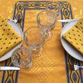 "Jacquard table runner ou square table mats, Delft golden yellow bordure ""Avignon"" yellow and blue"