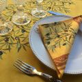 "Cotton napkins ""Clos des oliviers"" yellow and red"