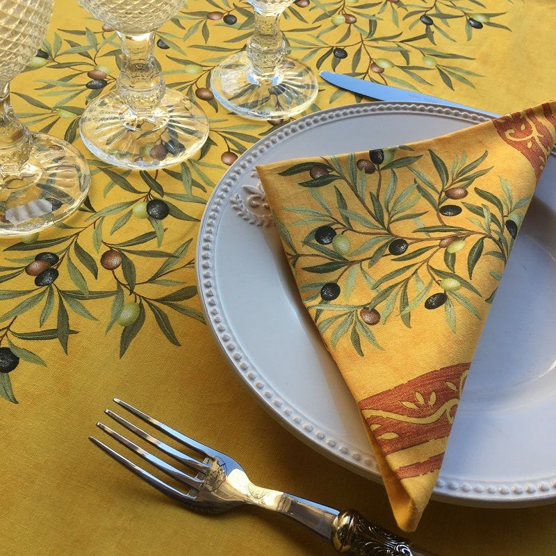 """Cotton napkins """"Clos des oliviers"""" yellow and red"""