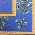 """Nappe provençale rectangulaire placée en coton  """"Clos des Oliviers"""" bleue"""