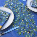 "Rectangular-placed-cotton-tablecloth ""Clos des Oliviers "" blue"