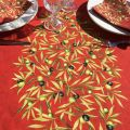 """Rectangular-placed-cotton-tablecloth """"Clos des Oliviers """"  red"""