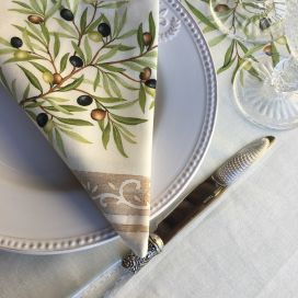 "Provence cotton napkins ""Clos des Oliviers"" Off-White"