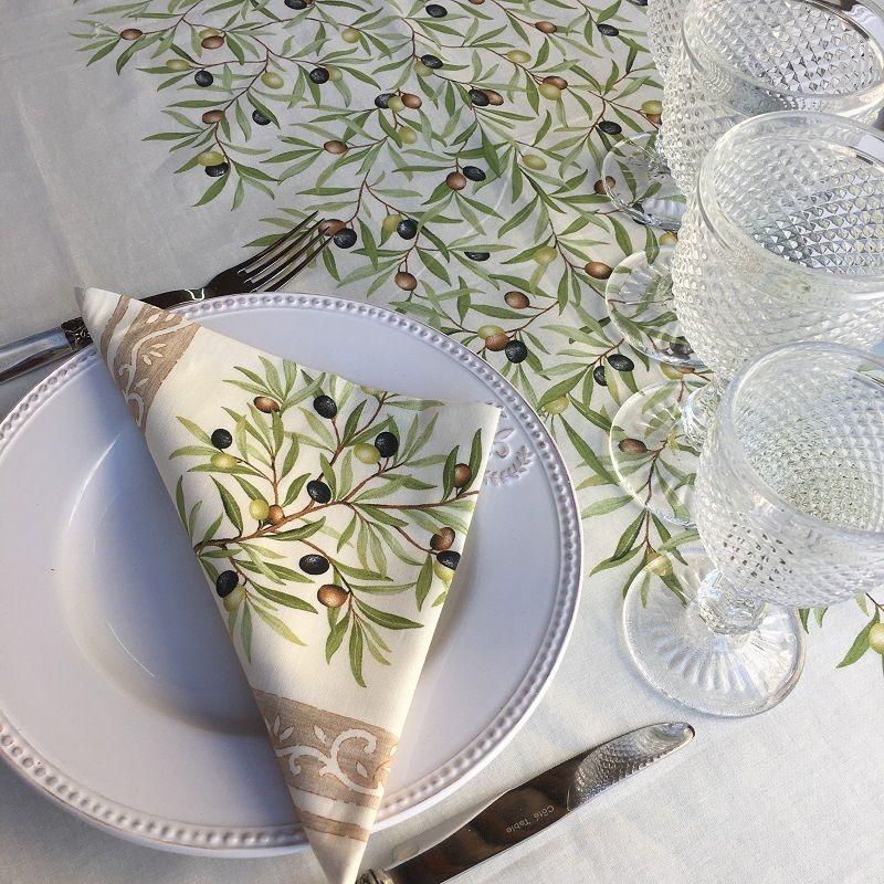 "Rectangular-placed-cotton-tablecloth ""Clos des Oliviers "" ecru"