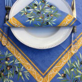 """Nappe provençale rectangulaire en coton enduit placée """"Clos des Oliviers"""" bleu"""