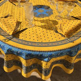 "Round tablecloth in cotton ""Tradition"" Yellow and blue ""Marat d'Avignon"""