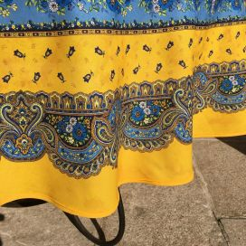 "Coated cotton round tablecloth ""Tradition"" Blue and yellow ""Marat d'Avignon"""