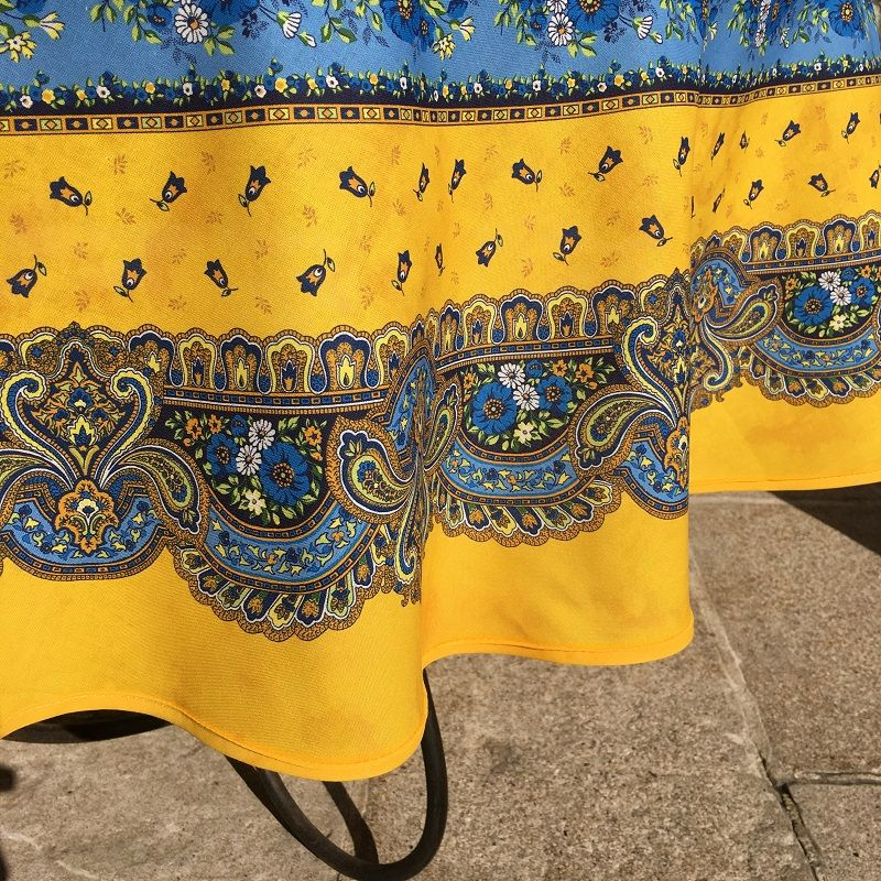 """round coatted cotton tablecloth """"Tradition"""" yellow and blue """"Marat d'Avignon"""""""