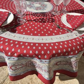 "Coatted cotton round tablecloth ""Bastide"" red and grey ""Marat d'Avignon"""