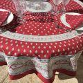 "Round tablecloth in cotton ""Bastide"" red and grey ""Marat d'Avignon"""
