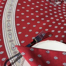 "Round tablecloth in cotton ""Bastide"" red and grey ""Marat d'Avignon"""
