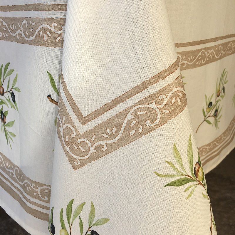 """Rectangular placed coated cotton tablecloth """"Clos des Oliviers"""" ecru"""