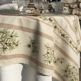 "Rectangular provence coated cotton tablecloth ""Clos des Oliviers"" off white"