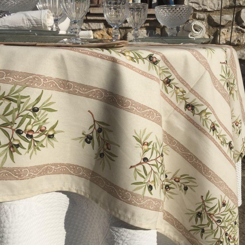 "Provence rectangular coated cotton tablelcloth ""Clos des Okliviers"" ecru"
