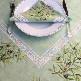 "Rectangular placed coated cotton tablecloth ""Clos des Oliviers"" green"