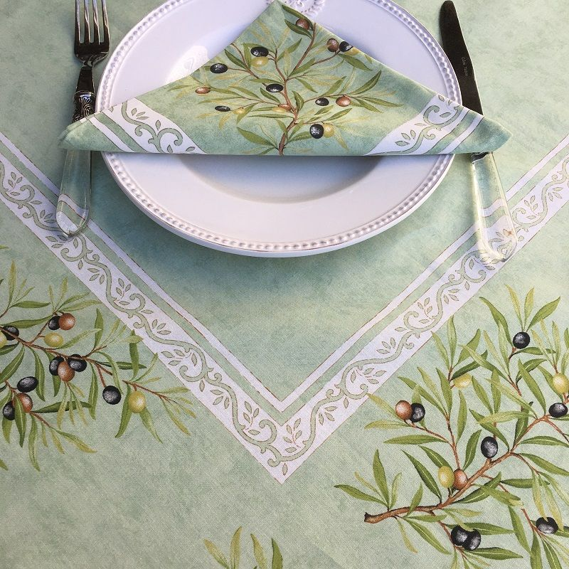 """Rectangular placed coated cotton tablecloth """"Clos des Oliviers"""" green"""