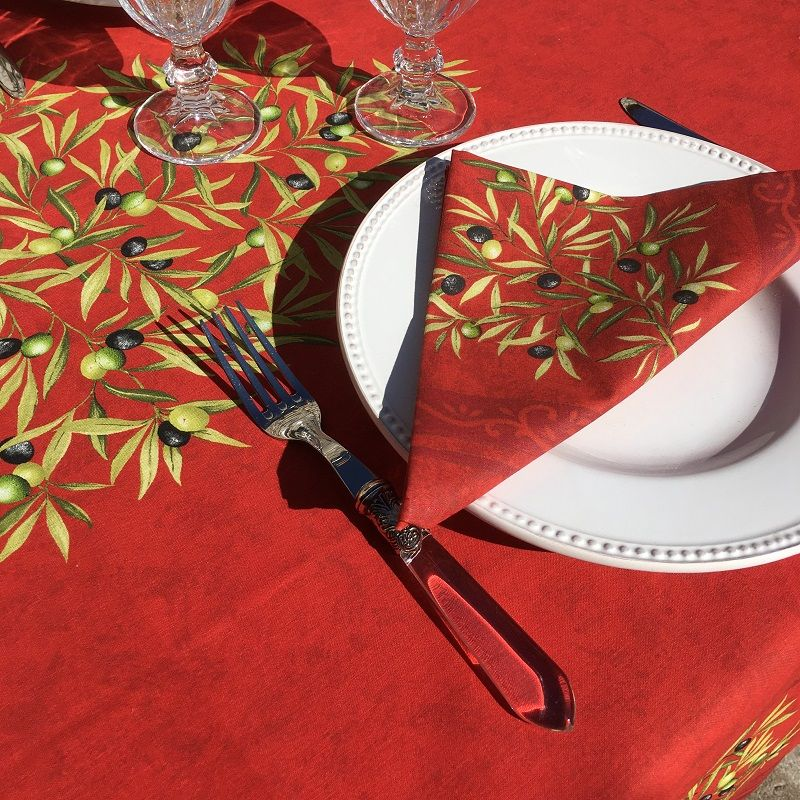 """Rectangular placed coated cotton tablecloth """"Clos des Oliviers"""" red"""
