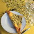 "Rectangular placed coated cotton tablecloth ""Clos des Oliviers"" safran"