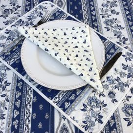 "Quilted cotton placemat ""Avignon"" white and blue ""Marat d'Avignon"""