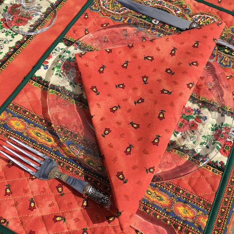 "Cotton napkins ""Tradition"" orange  by Marat d'Avignon"