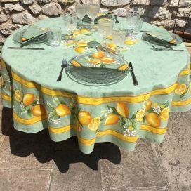 """Nappe provençale ronde en coton enduit """"Citrons"""" jaune et vert TISSUS TOSELLI"""