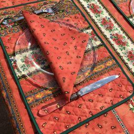 """Set de table en coton matelassé """"Tradition"""" orange """"Marat d'Avignon"""""""