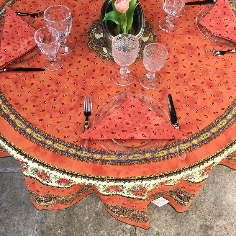 """round tablecloth in cotton """"Tradition"""" orange"""