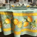 """Nappe ronde en coton enduit """"Citrons"""" jaune et vert"""