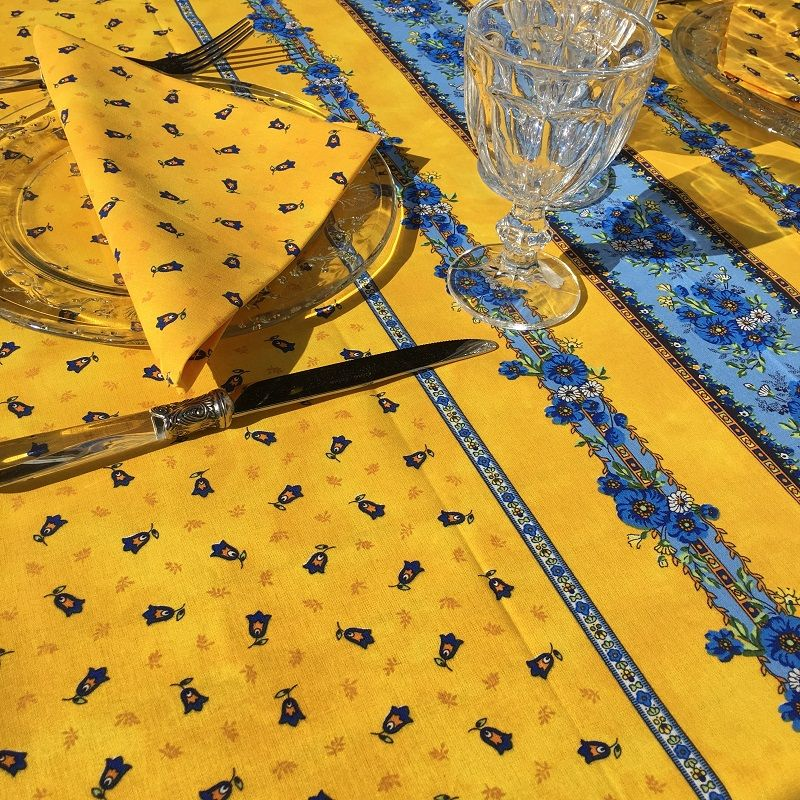 "Provence rectangular tablecloth in cotton ""Tradition"" jaune ""Marat d'Avignon"""