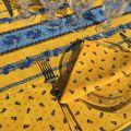 """Nappe provençale rectangulaire en coton """"Tradition"""" jaune  """"Marat d'Avignon"""""""