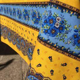 """Nappe provençale rectangulaire en coton enduit """"Tradition"""" jaune Marat d'Avignon"""