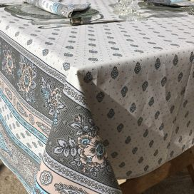 """Nappe provençale rectangulaire en coton enduit """"Bastide"""" turquoise Marat d'Avignon"""